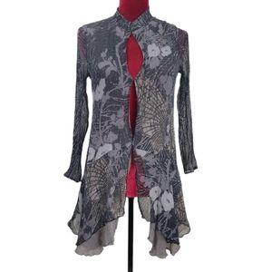 L Citron grey and black floral silk blouse